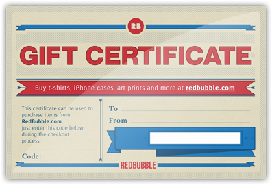 gift certificates redbubble
